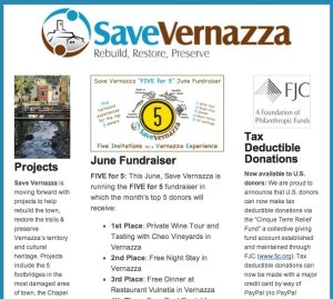 Save Vernazza Newsletter | Cinque Terre Update